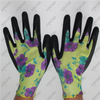 Flower color polyester shell half coated black crinkle latex garden work gloves