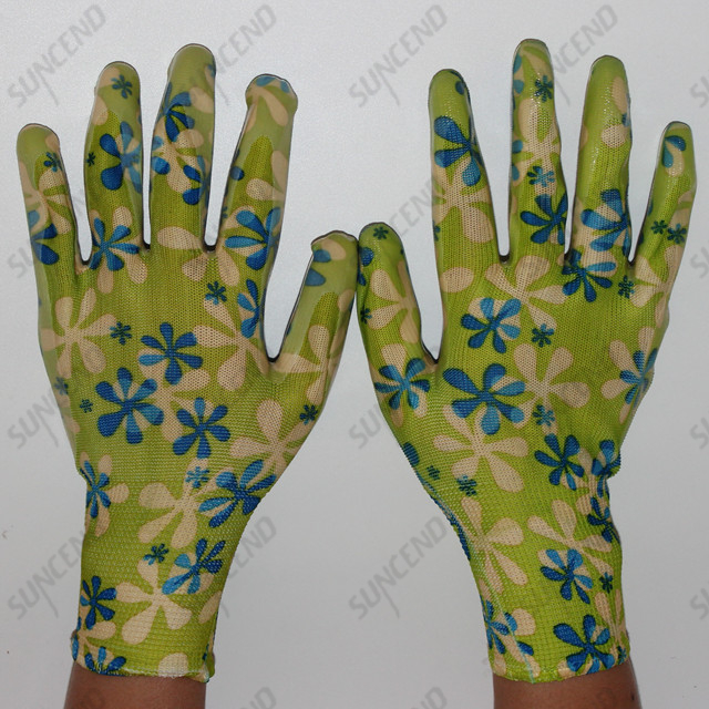 Colorful Printing Liner Nitrile Coated Smooth Palm Work Gloves