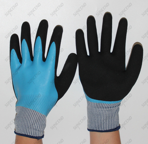 Blue Latex Sandy finish Waterproof Safety gloves with