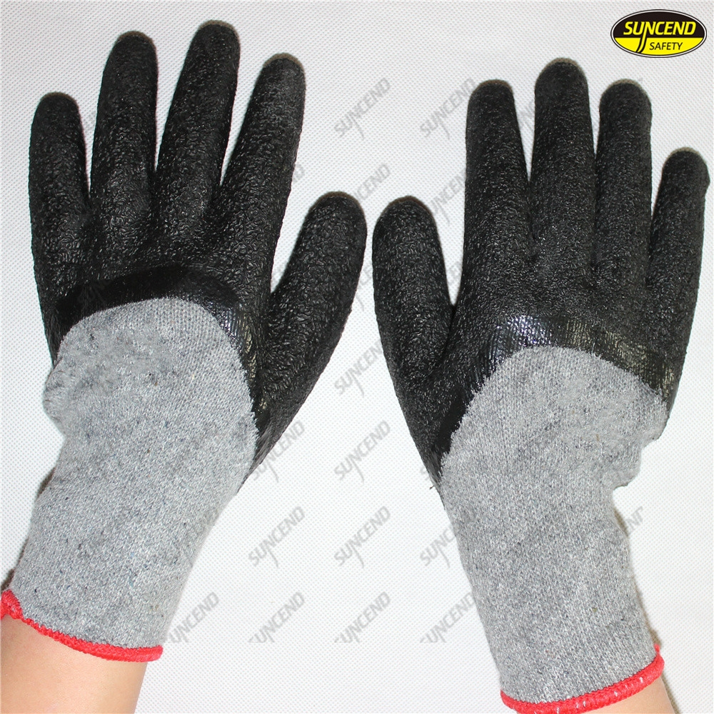 Good grip crinkle latex dipped mechanic work gloves