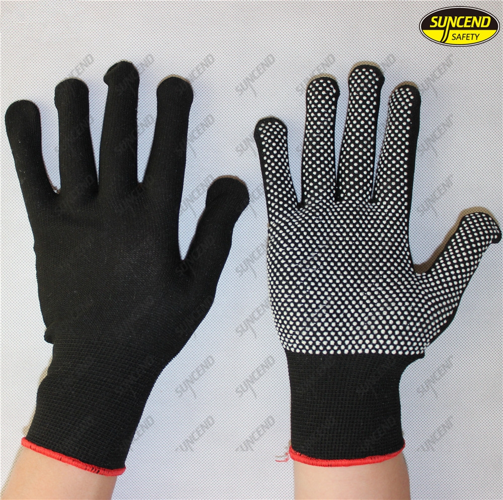 Single side polycotton knitted PVC dotted gloves