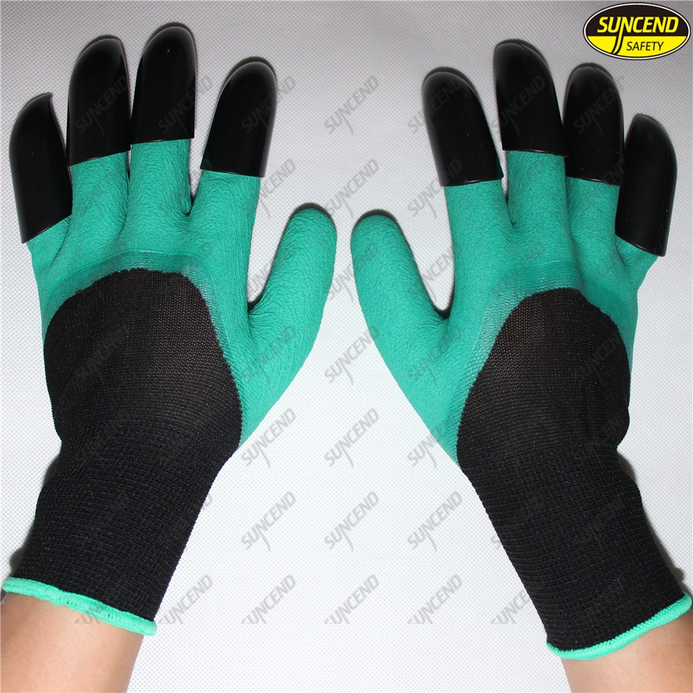 Gardening planting digging gloves with ABS plastic claws