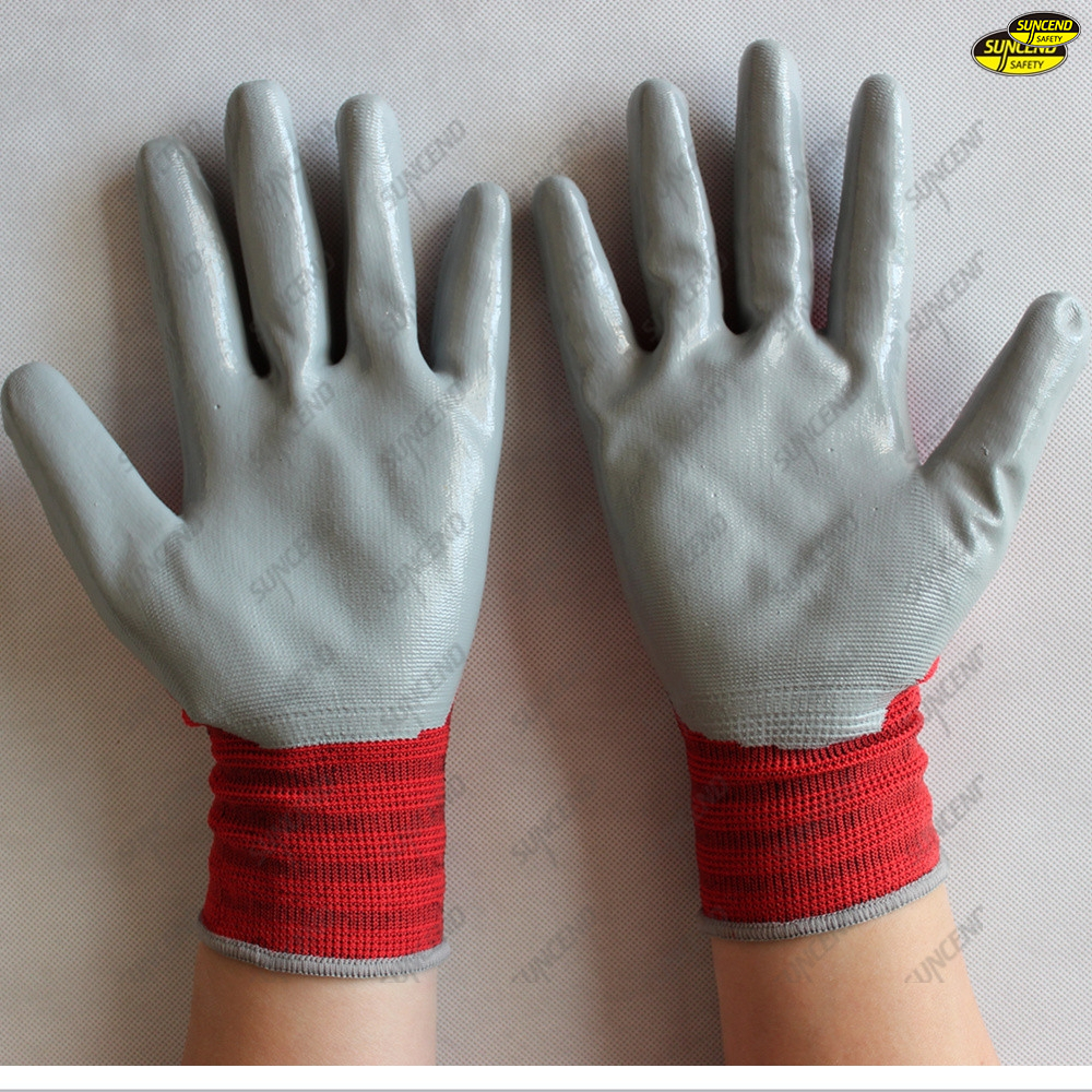 13G polyester liner nitrile palm coated security gloves