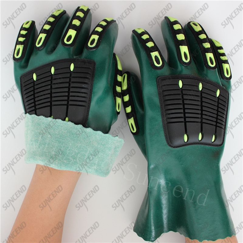 Anti vibration TPR back cotton liner sandy PVC coated gloves