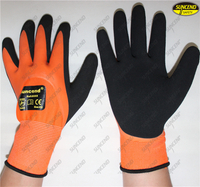 Double nitrile dipped sandy finished soft work gloves