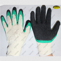Factory price latex double dipped crinkle mechanical work gloves