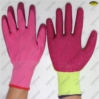 13 Gauge pink polyester palm coated crinkle pink latex gloves
