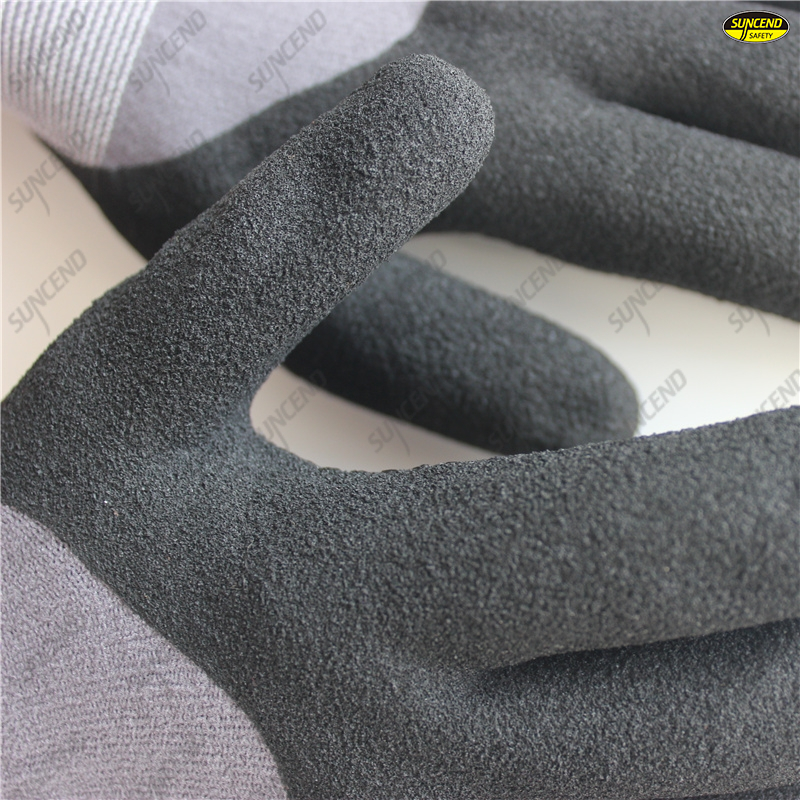 15G spandex nylon liner 3/4 coating micro foam nitrile PVC dots gloves