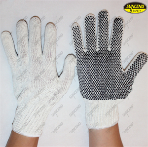 PVC dots coated cotton knitted hand safety work Gloves