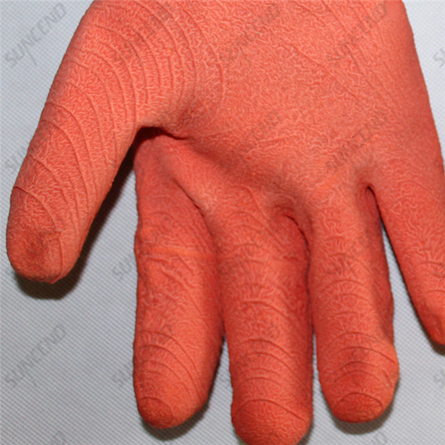 13 Gauge Polyester Full Coated Pink Corrugated Latex Gloves