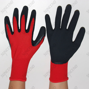 Nylon/polyester Liner Latex Coated Sandy Finish Work Gloves