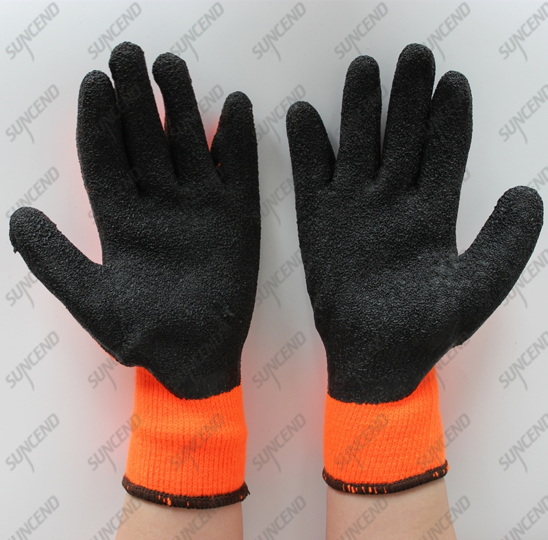 10 Gauge Polycotton Grey Crinkle Latex Coated Safety Gloves