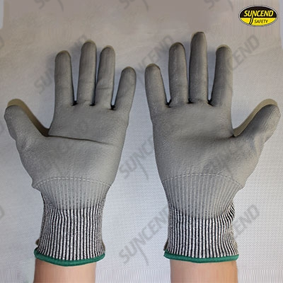 HPPE liner PU palm fit cut resistant work gloves