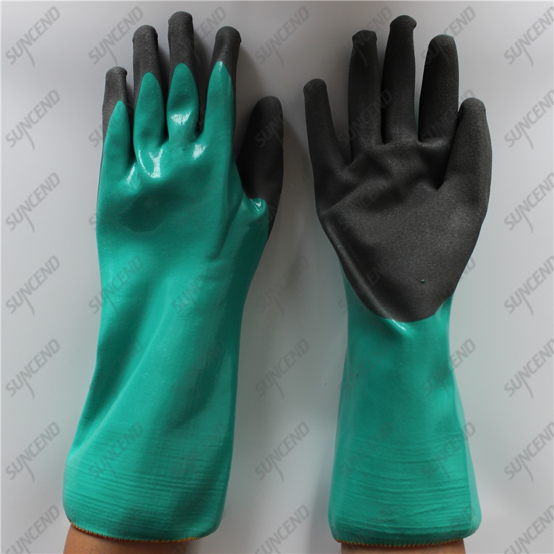 Fluorescent yellow HPPE cut resistant double dipped sandy nitrile gloves