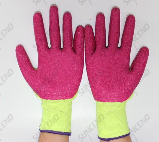 13 G fluorescent yellow polyester palm coated crinkle pink latex gloves
