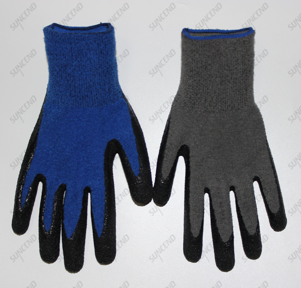 One layer winter hand protection work gloves for anti slip with 100% polyester liner