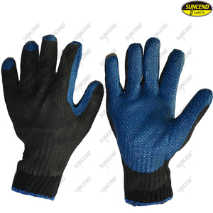 Soft rubber coated breathable polycotton liner industrial gloves