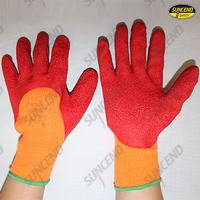 Palm and finger latex rubber coated polycotton liner work gloves