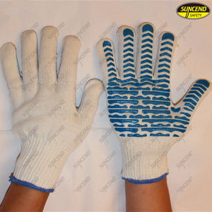PVC dotted polycotton liner point plastic gloves