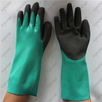 Straight cuff HPPE cut resistant lining smooth sandy nitrile gloves