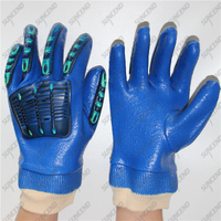 Knitted wrist full coated blue smooth PVC TPR mining impact gloves