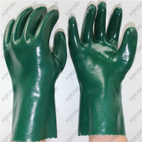 28cm interlock nylon anti acid middle sleeve green smooth PVC fishery gloves