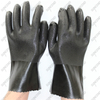 Cotton liner chemical resistant sandy PVC anti-acid black rubber working gloves