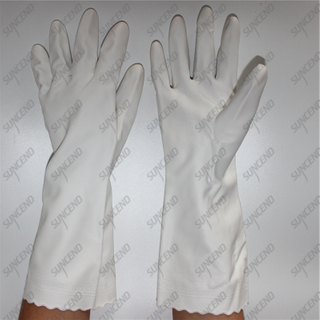 White special texture PVC coating household kitchen gloves with spray lining