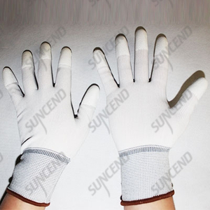 White pu fingertips coated gloves anti-static gloves