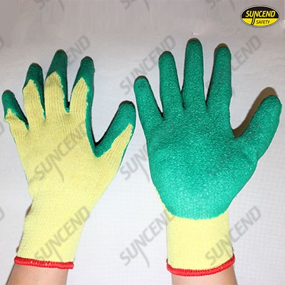 10G polycotton liner crinkle latex palm work gloves