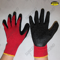 Red polycotton liner black crinkle latex coated work gloves