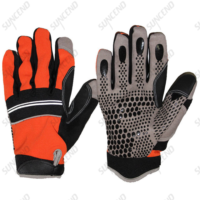 Synthetic leather palm silicone dotted coating safety work mechanical working gloves