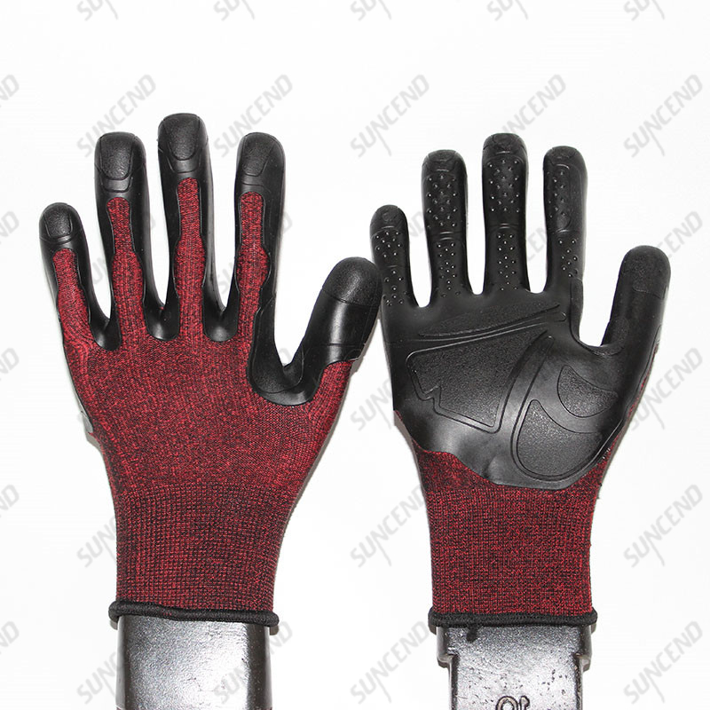 World's Best Grip And Impact Protection Instant High Temperature Resistance TPE Coated Glove