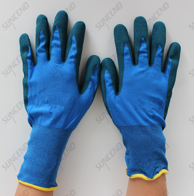 New Design Color Shell with Blue NBR Dipped Safety Glove for Daily Working