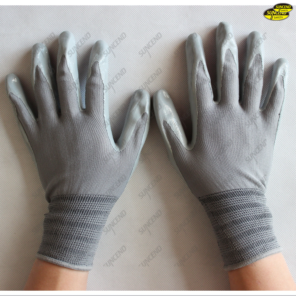 13G polyester liner nitrile coated labor protection gloves