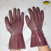 purplish red latex fully coated gloves