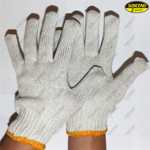 100% natural cotton knitted safety glove with competitive price