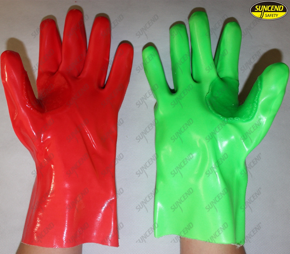 Thumb web reinforced long cuff protective pvc coated work gloves