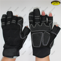 3 fingers mechanical work safety protective synthetic leather palm machinery glo