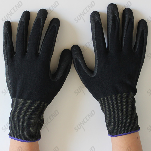Nitrile Palm Coated Sandy Finished Work Glove