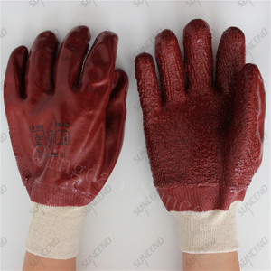 Knitted wrist jersey cotton liner full coating rough chocolate PVC gloves