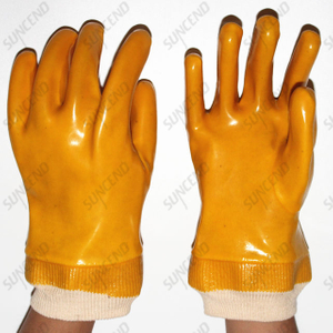 Yellow PVC Fully Dipped Smooth Finish Heavy Duty Safety Gloves