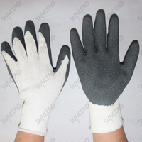 10 gauge black polycotton grey crinkle latex coated work gloves