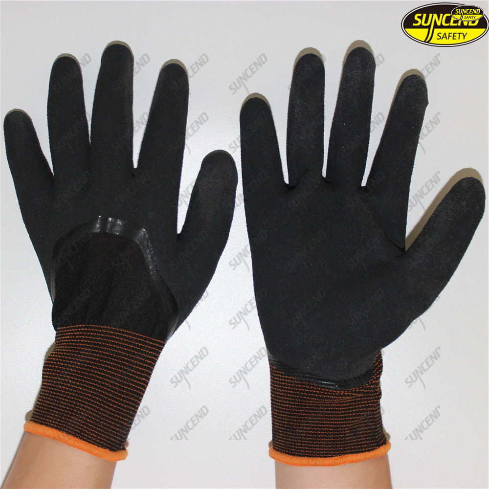 Black nitrile double coated waterproof work gloves