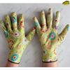 Colorful printing liner nitrile coated smooth gloves