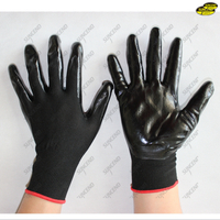 Nitrile palm smooth dipped polyester liner gardening work gloves
