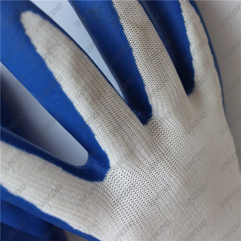 Seamless 13G nylon shell palm coated smooth blue latex work gloves