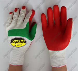10g polycotton red green laminated rubber construction gloves