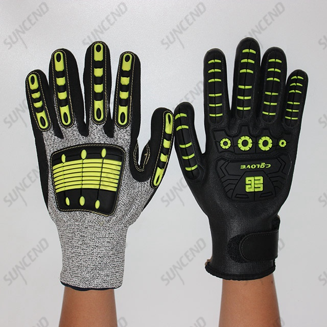TPR Impact Gloves with Sandy Nitrile Palm