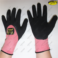 Oil resistant proof black nitrile sandy coated mecanical gloves